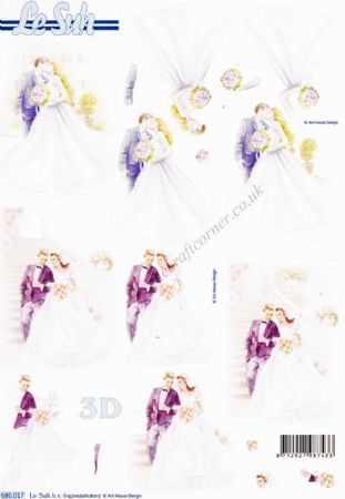 Wedding Couple Kissing Die Cut 3d Decoupage Sheet From Le Suh